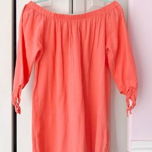 Swim Dress Cover Up Pool Beach Coral Off Shoulder